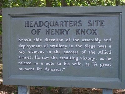 Headquarters Site of Henry Knox Marker image. Click for full size.