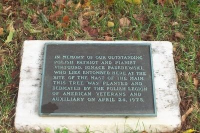 An earlier Paderewski marker, beneath a memorial tree, across the walkway in Section 23 image. Click for full size.