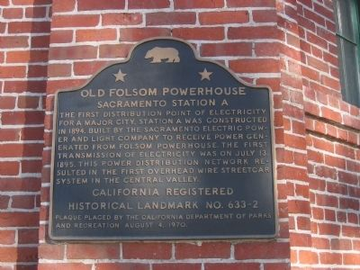 Old Folsom Powerhouse Marker image. Click for full size.
