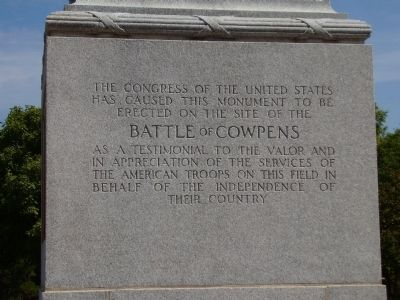 Battle of Cowpens Monument -<br>South Inscription image. Click for full size.
