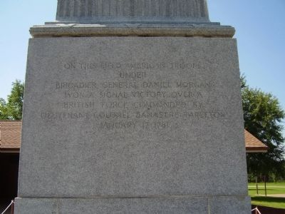 Battle of Cowpens Monument -<br>North Inscription image. Click for full size.
