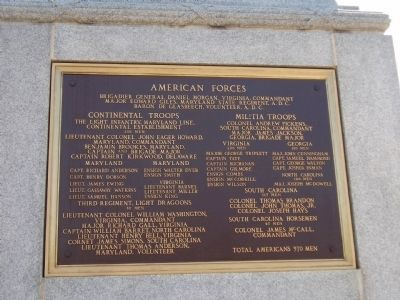 Battle of Cowpens Monument -<br>West Plaque image. Click for full size.