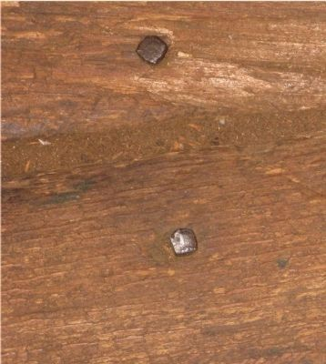 Square Nails in Floor Boards image. Click for full size.