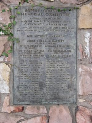 The Pony Express Statue Donor Plaque image. Click for full size.