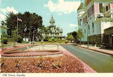 Vintage Postcard - Old Town Eureka Looking Towards the Carson Mansion Photo, Click for full size