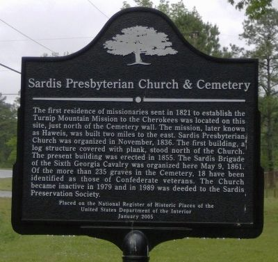 Sardis Presbyterian Church & Cemetery Marker image. Click for full size.