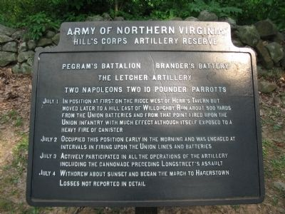 Pegram's Battalion - Brander's Battery Tablet image. Click for full size.