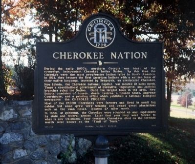 Cherokee Nation Marker as originally erected in another part of the Rest Area. image. Click for full size.