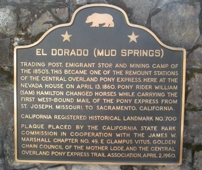 El Dorado (Mud Springs) Marker image. Click for full size.