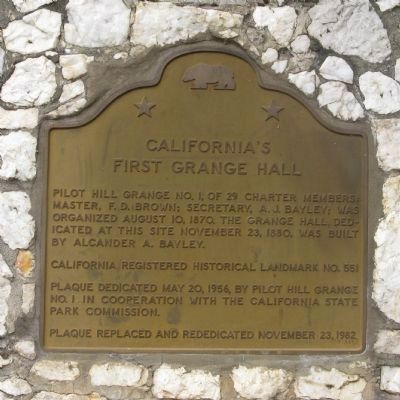 California�s First Grange Hall Marker image. Click for full size.