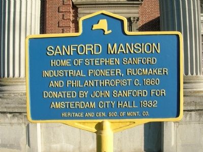 Sanford Mansion Marker - Amsterdam, New York image. Click for full size.
