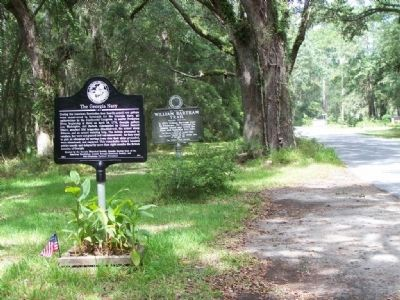 The Georgia Navy Marker, shares location with a William Bartram Trails Marker image. Click for full size.