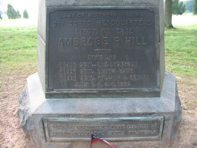 Lieut. General Ambrose P. Hill Headquarters Monument Photo, Click for full size
