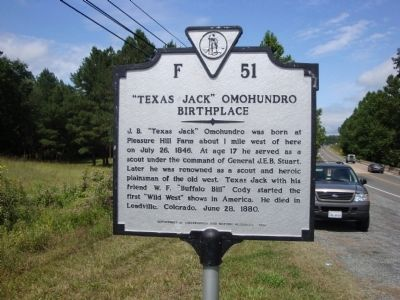 """Texas Jack"" Omohundro Birthplace Marker image. Click for full size."