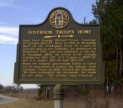 Governor Troup's Home Marker image. Click for full size.