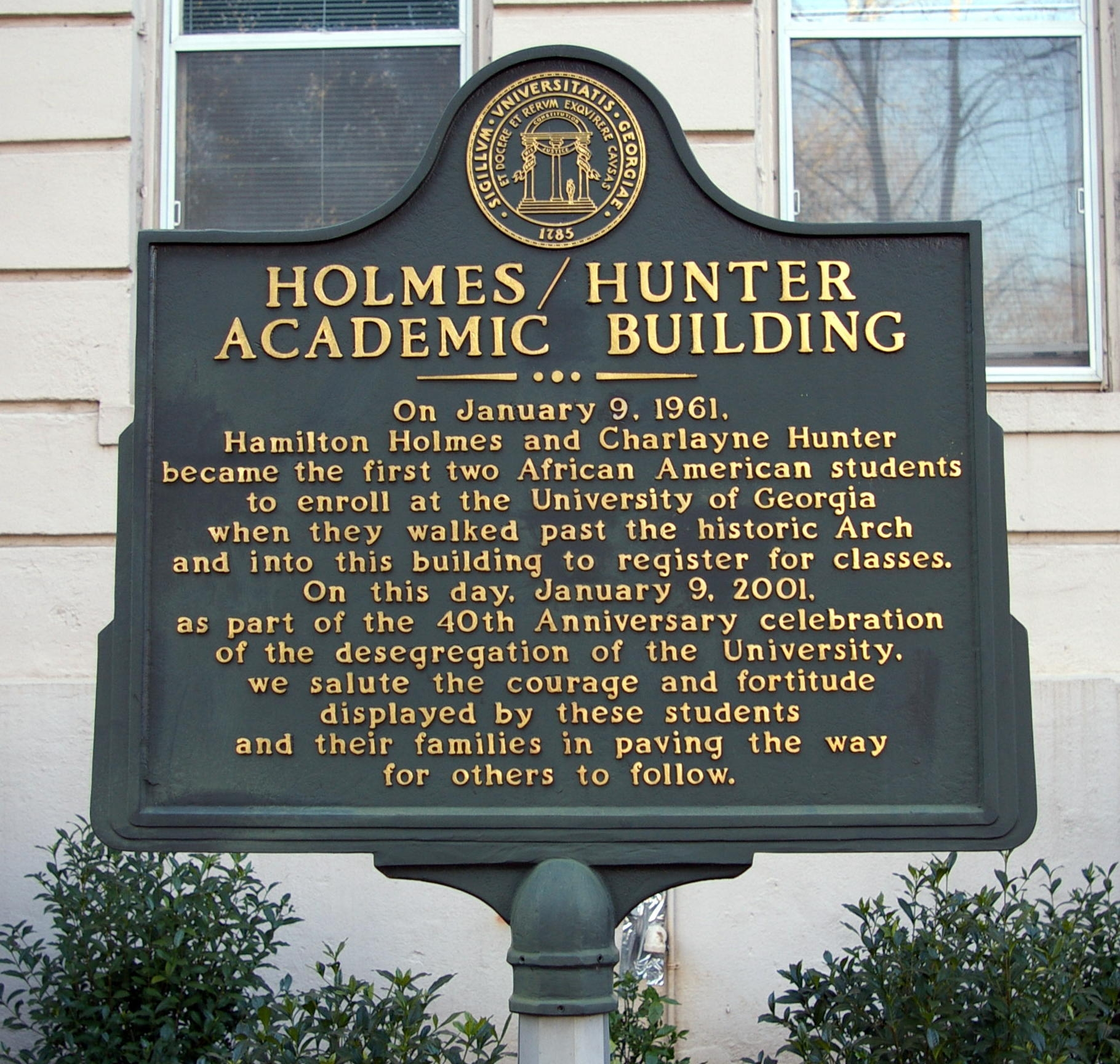 Holmes/Hunter Academic Building Marker