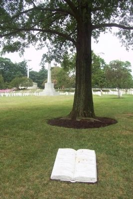 U.S. War Correspondent Marker and memorial tree image. Click for full size.