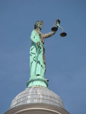 Lady Justice, Without Her Blindfold, Atop the Augusta County Courthouse image. Click for full size.