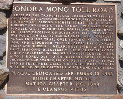 Sonora MonoToll Road Marker Photo, Click for full size