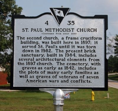 St. Paul Methodist Church Marker - Reverse Photo, Click for full size