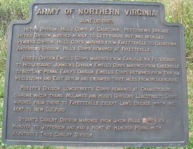 Army of Northern Virginia Tablet - June 30, 1863 image. Click for full size.