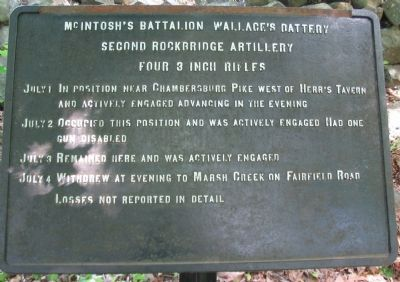 McIntosh's Battalion - Wallace's Battery Tablet image. Click for full size.