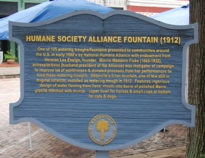 Humane Society Alliance Fountain (1912) Marker image. Click for full size.