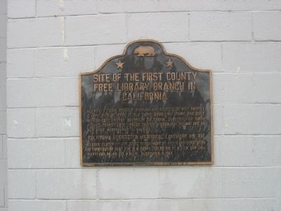 Site of the First County Free Library Branch in California Marker image. Click for full size.