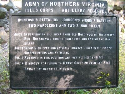 McIntosh's Battalion - Johnson's Virginia Battery Tablet image. Click for full size.