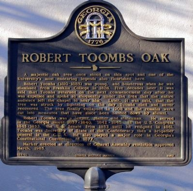 Robert Toombs Oak Marker Photo, Click for full size