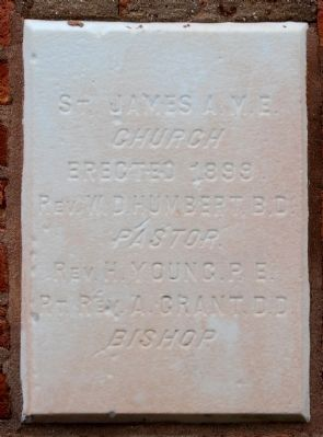 St. James African Methodist Episcopal Church Cornerstone image. Click for full size.