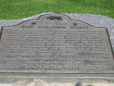 The Coloma Road Marker image. Click for full size.