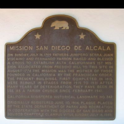 Mission San Diego de Alcala Marker image. Click for full size.