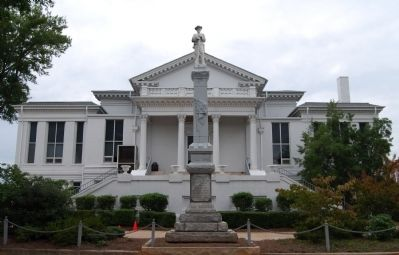 Laurens County Court House - South (Front) Entrance<br>Confederate Monument in Center Photo, Click for full size