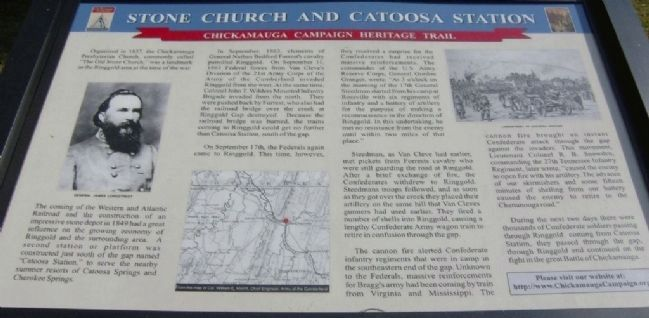 Stone Church And Catoosa Station Marker image. Click for full size.
