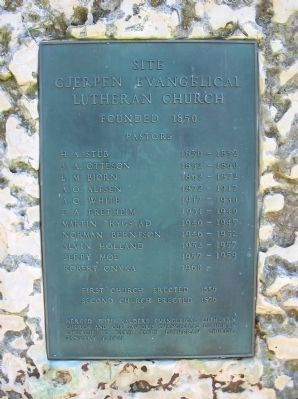 Site of Gjerpen Evangelical Lutheran Church Marker Photo, Click for full size