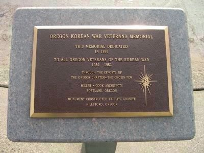 Oregon Korean War Veterans Memorial Marker image. Click for full size.