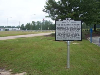 "The Doolittle Raiders Marker, looking west, at the ""Cell Phone Lot"", Columbia Metropolitan Airport image. Click for full size."