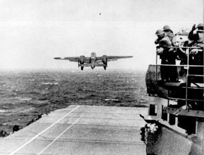 A Doolittle Raider's B-25 lifts-off from the USS Hornet image. Click for full size.