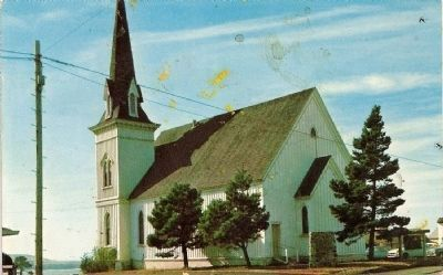 Vintage Postcard-Mendocino Presbyterian Church image. Click for full size.