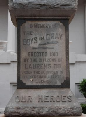 Laurens County Confederate Monument Marker - Front image. Click for full size.