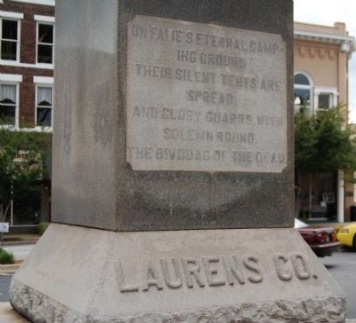 Laurens County Confederate Monument Marker - Reverse image. Click for full size.