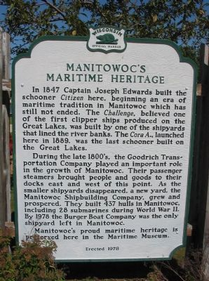 Manitowoc's Maritime Heritage Marker image. Click for full size.