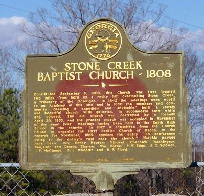 Stone Creek Baptist Church - 1808 Marker image. Click for full size.