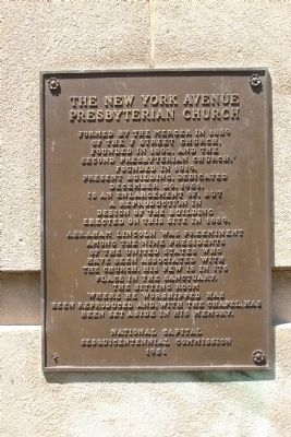 The New York Avenue Presbyterian Church Marker image. Click for full size.