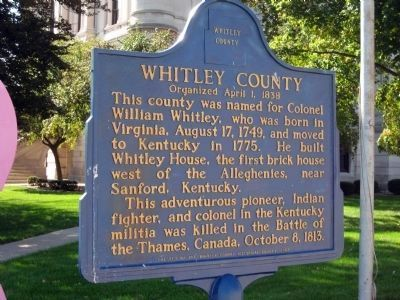 Whitley County Marker image. Click for full size.