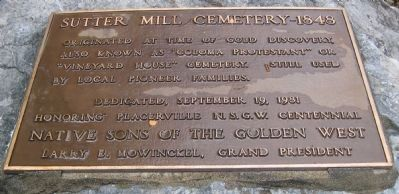 Sutter Mill Cemetery – 1848 Marker image. Click for full size.