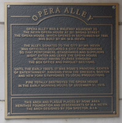 Opera Alley Marker image. Click for full size.