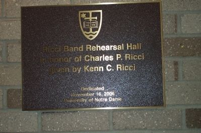 Plaque inside Ricci Band Rehearsal Hall image. Click for full size.