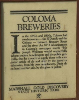 Coloma Breweries Marker image. Click for full size.